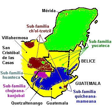 Map: where the Mayan languages are spoken