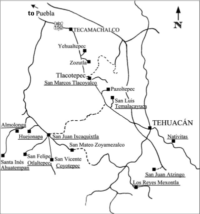 Map: Tlacoyalco area